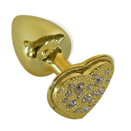 Plug Anal Dourado Cravejado Coração Hard