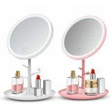 Espelho Redondo Com Led Penteadeira Portátil