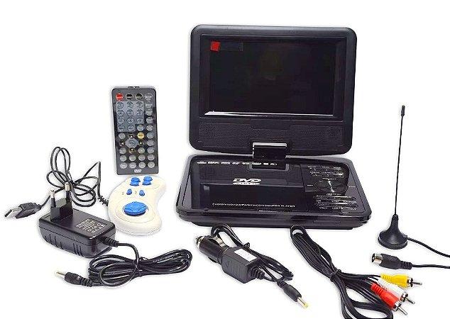 Dvd Portátil 7 Polegadas Com Games E Tv, Controle, Vermelho