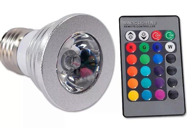 Lampada Dicroica Led Rgb 3w Controle Remoto 16 Cores Oferta