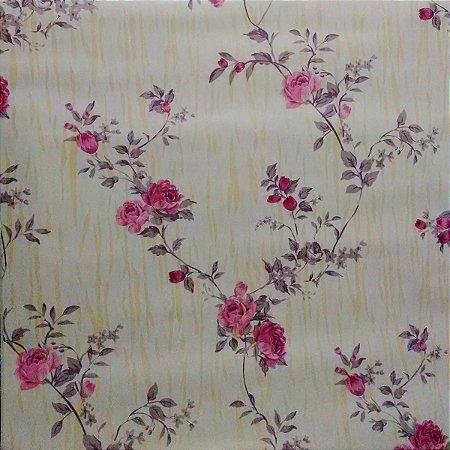 Papel De Parede Floral Rolo Adesivado 5 Metros Por 45cm