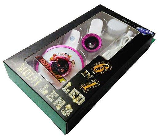 Clipe Universal 6 Em 1, Lente Led Para Celular Olho De Peixe Somente rosa