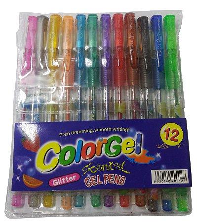 12 Canetinhas Gel Esferográfica Colorgel Caneta Escolar