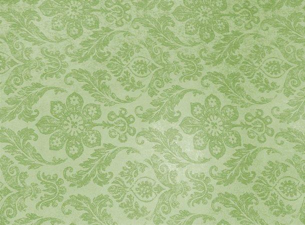 Papel De Parede Modelo Arabesco Estampa Verde, 5m X 45cm