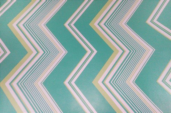 Papel De Parede Modelo Estampa listras verdes .5 metros X 45 centímetros
