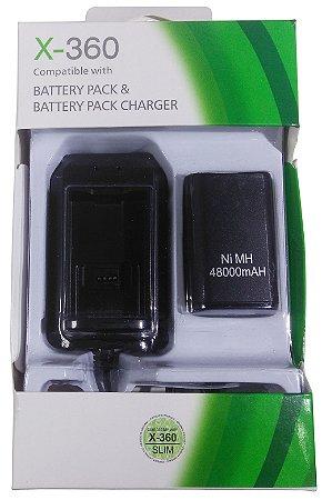 Carregador E Bateria Para Controle De Xbox 360 Duração Extra