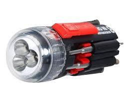 Kit De Chaves De Fenda 8 Em 1, Com Lanterna Led Multifunções