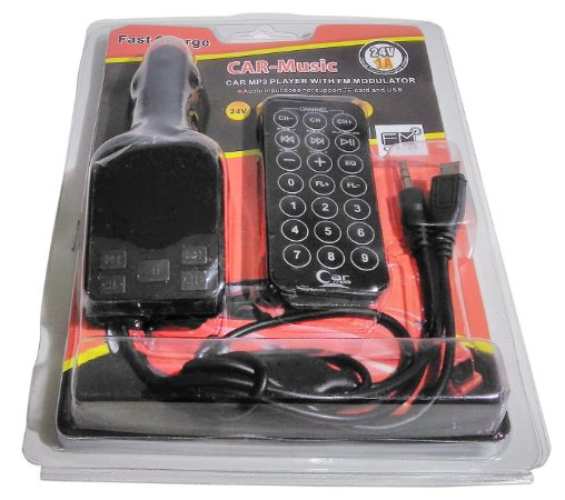 Car Mp3 Player Para Carro Transmissor Fm, Usb, Sd, Aux 24v