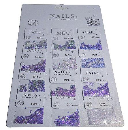 Kit De Pedras Para Unhas, 12 Modelos Strass, Nail Art