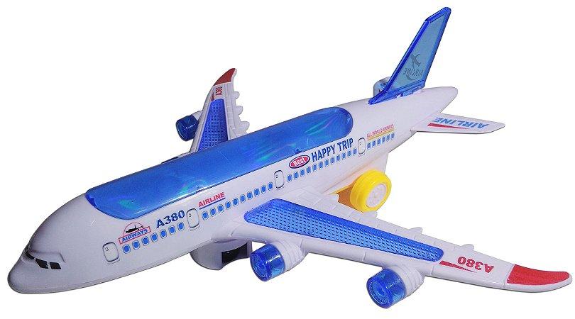 Avião Miniatura Airplanes Brinquedo Anda E Acende Luzes A380