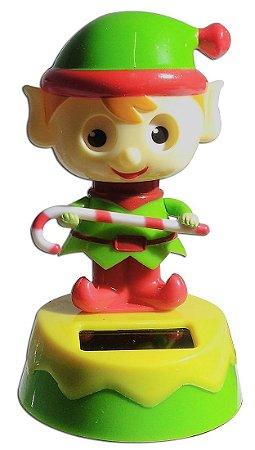 Boneco Elfo De Natal Brinquedo Que Dança Com Luz Solar