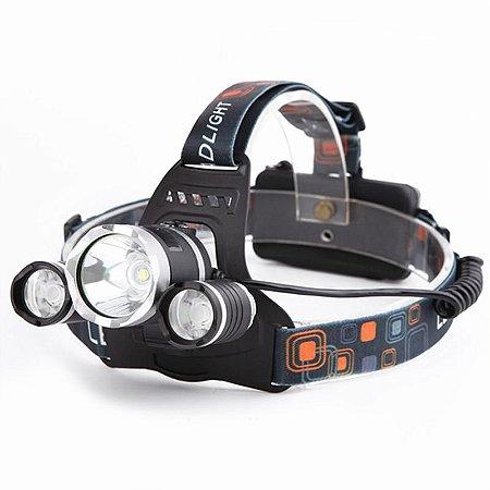 Lanterna De Cabeça 3 Bulbos Led E 3 Funções Super Iluminação