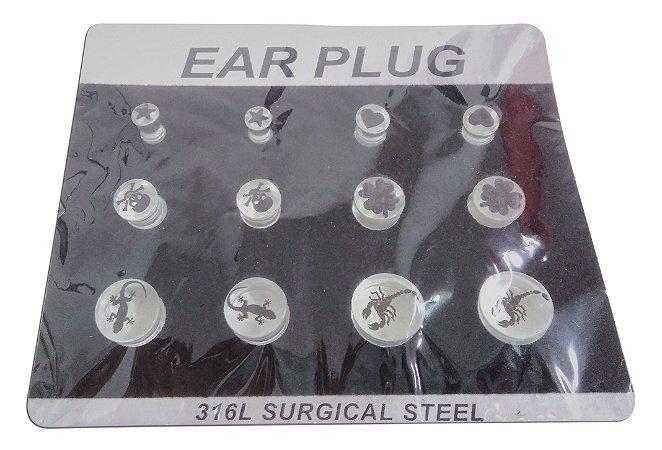 Cartela Com 12 Ear Plug Alargador Fechado Acrílico Estampado