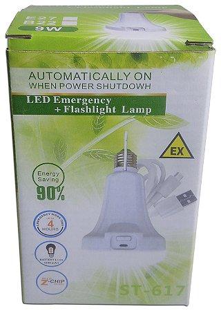 Lampada De Emergência Recarregável 1800mah E27 9w St-617