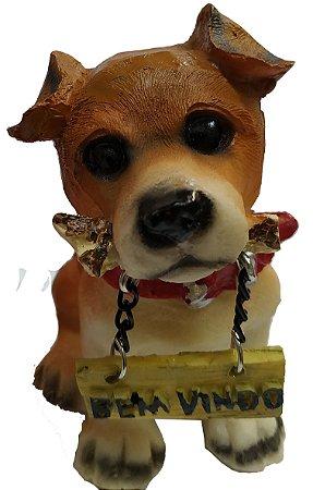 Cachorro enfeite com placa bem vindo 9cm vários modelos