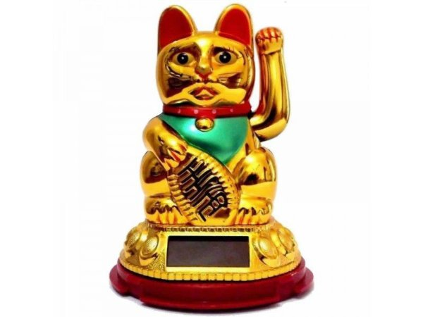 Gato da Sorte Chinês Solar Dourado