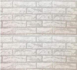 Papel de parede tijolo branco com cinza rolo de 5 metros por 45cm adesivado