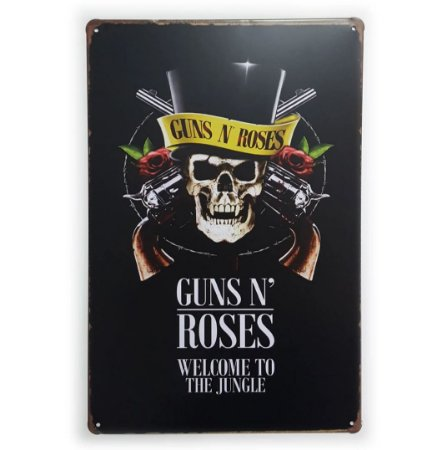 Placa de Metal Guns N' Roses - Welcome to the Jungle