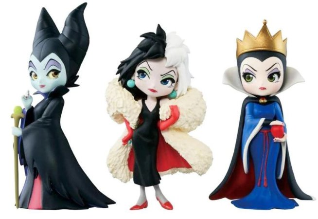 kit 3 Action Figures Malévola, Cruella de Vil e Rainha Má - Disney