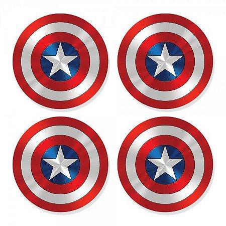 Porta-Copos Conjunto 4 Peças Escudo Capitão América