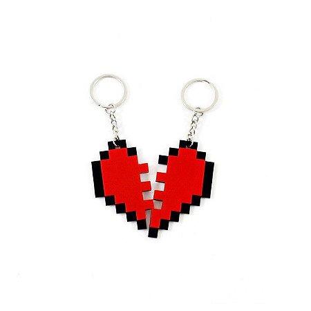Chaveiro Nosso Coração Namorados 8 bits