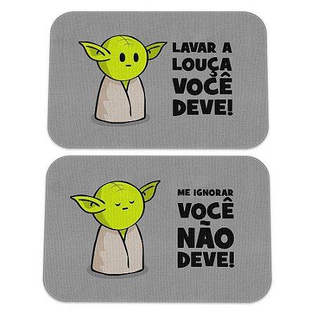 Kit Tapetes de Cozinha Lavar Louça Você Deve - Mestre Yoda