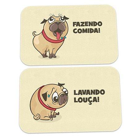 Kit Tapetes de Cozinha Pug Comida vs Louça