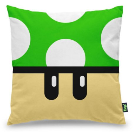 Almofada Cogumelo Verde 1 UP Super Mario Bros