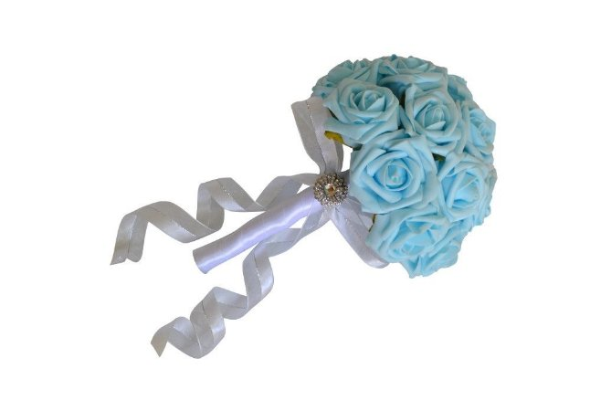 Buquê de Noiva Rosas Azul Turquesa