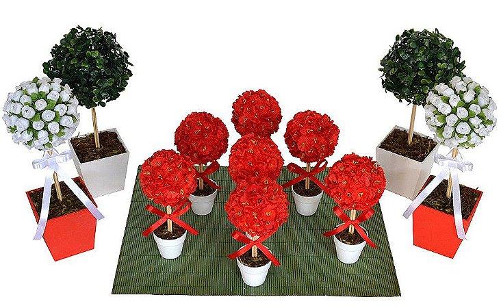 Kit Topiaria Vermelho e Branco