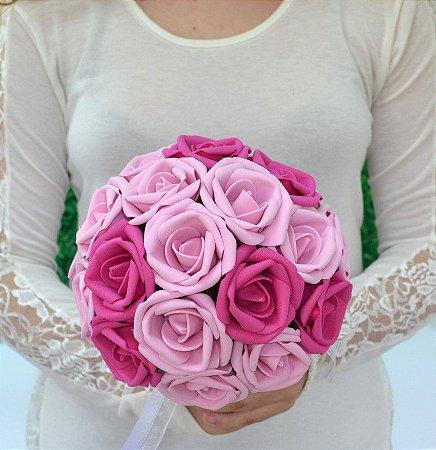 Buquê de Noiva Rosas Pink e Rosa em EVA para Customizar