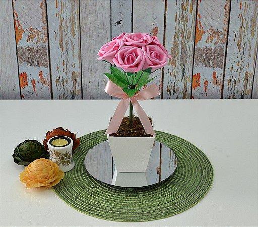Arranjo de Flores Artificiais Cor Rosa Para Centro de Mesa