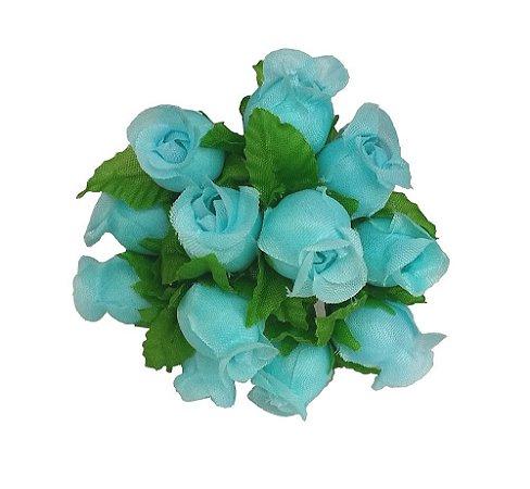 144 Mini Rosinha Artificial Azul Tiffany