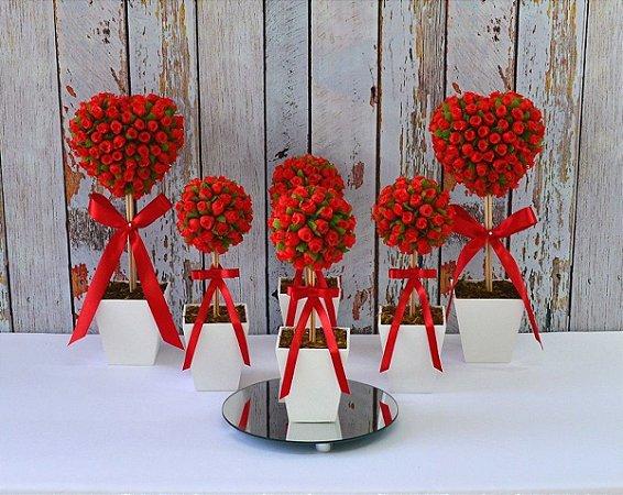 Kit Arranjos de Flores Enfeite de Mesa Decoração Noivado