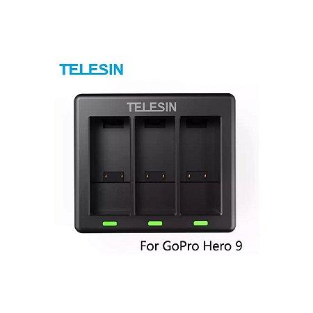 Carregador Triplo Telesin USB para Baterias das Câmeras GoPro HERO9 Black e GoPro HERO10 Black
