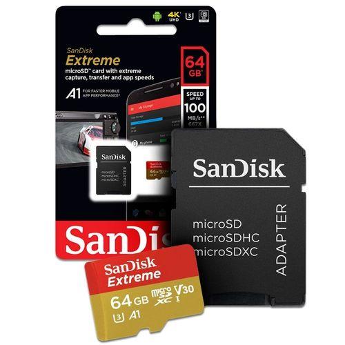 Cartão Microsd 64gb Sandisk Extreme para câmeras GoPro, DJi OSMO Action Cam, SJCam e similares