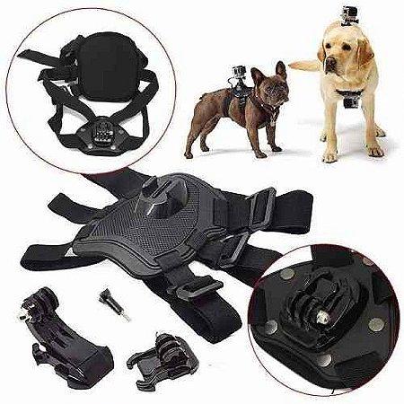 Suporte Duplo Elástico Ajustável para Cachorros, Compatível Com Câmeras Gopro, SJCam e Similares