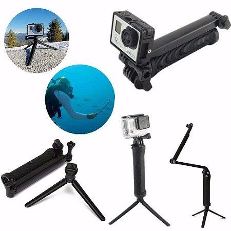 Bastão Dobrável 3Way ou 3 Formas Similar Para Gopro, SJCam, Sony e Câmeras Similares - 1ª Linha