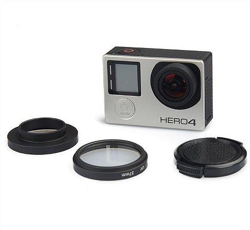 Filtro UV 37mm com Tampa Para Câmeras Gopro HERO3, HERO3+, HERO4 Silver e HERO4 Black