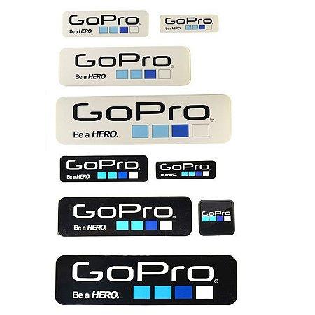 Cartela com 09 Adesivos de tamanhos diversos nas cores preta e branca e com Logotipo GOPRO