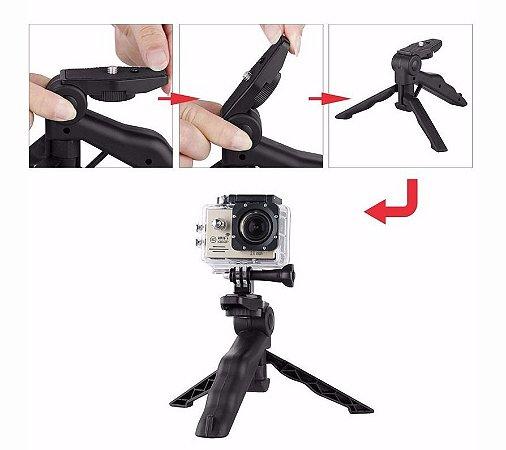 Mini Tripé e Bastão Reduzido com Adaptador para Câmeras Gopro, SJCam e Similares