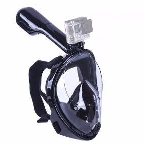 """Máscara de mergulho Modelo Full Face Tamanho """"G"""" com Snorkel e Base para Gopro, SJCam e Similares"""