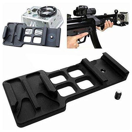 Suporte em Alumínio Para Trilhos de 20mm de Fuzil e outras Armas - Modelo 03 -Para Câmeras Gopro, SJCam e Similares