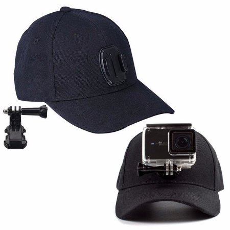 Boné com Base Fixa e Suporte J-Hook para Câmeras Gopro, SJCam e Similares