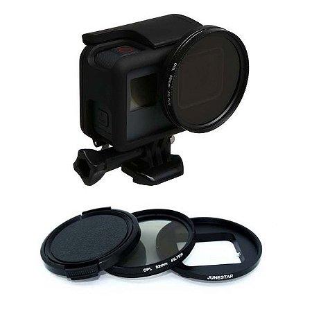 Filtro UV 52mm com adaptador e tampa para Gopro HERO5 Black, HERO6 Black e HERO7 Black