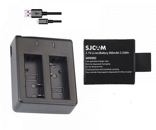 Kit com carregador Duplo Similar USB e 1 bateria para câmeras SJ4000, SJ5000 e Sports Cam compatíveis