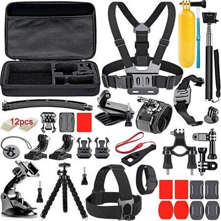 Kit TOMATE de acessórios básicos compatíveis com GoPro, DJi Action Cam, SJCam, Sony e Similares