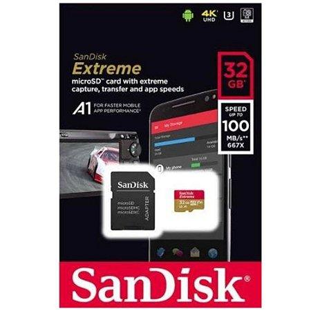 Cartão Microsd 32gb Sandisk Extreme para câmeras GoPro, DJi OSMO Action Cam, SJCam e similares