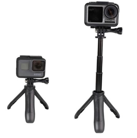 ini tripé e bastão com tamanho máximo de 23cm, compatível com GoPro, DJi Osmo Action, SJCam, Sony e similares.