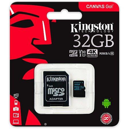 Cartão de Memória Kingston CanvasGo MicroSD Classe 10 32Gb 90mb/s